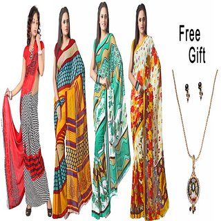 Florence Multicolor Georgette Plain Saree With Blouse (Combo of 4)