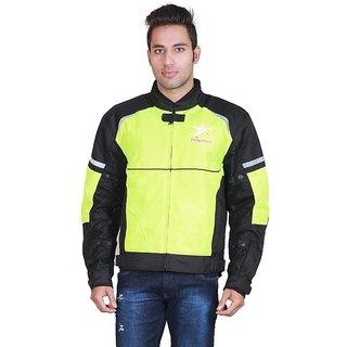Pegasus Men's Polyester Black&Green Casual Motorcycle Jacket