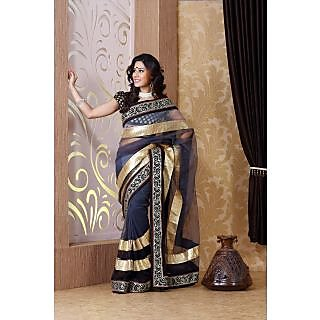 Shaded black and gray net saree with unstitched  blouse (bmc1313)