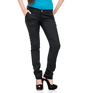 Fashion Cult Stylish Black Linen Lycra Trouser - Black