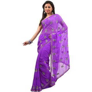 Handwork purple chiffon saree
