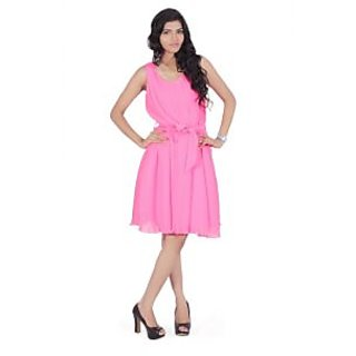 Farrago Pleated Light Weight Belted Dress