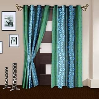Story@Homeaqua Polyster Door Curtain Nature 2 Pc Door Curtain- Dnr3022
