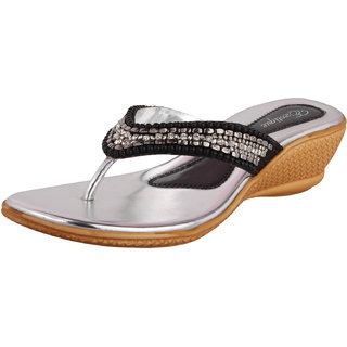 Exotique Silver Faux Leather Medium Heel Party Wear Slip On