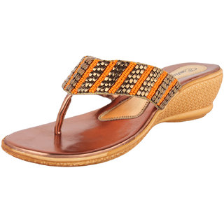 Exotique Bronze Faux Leather Medium Heel Party Wear Slip On