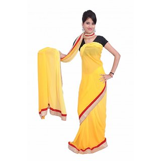 Lado Party Wear Light Yellow And Red  Color Sari With Unstiched Blouse Piece