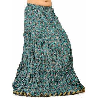 Ethnic Zari Border Aqua Blue Pure Cotton Skirt 212