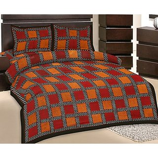 GRJ India Double Bed Sheet With 2 Pillow Cover (GRJ-DB-NC48PH-10)