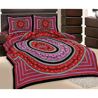 GRJ India Double Bed Sheet With 2 Pillow Cover (GRJ-DB-NC48PH-1)