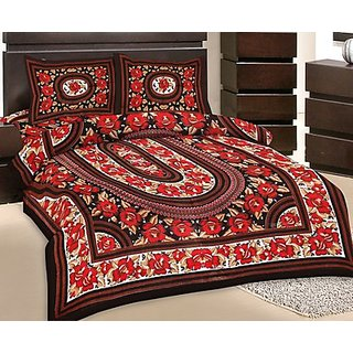 GRJ India Double Bed Sheet With 2 Pillow Cover (GRJ-DB-NC48PH-12)