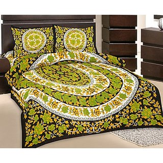 GRJ India Double Bed Sheet With 2 Pillow Cover (GRJ-DB-NC48PH-15)