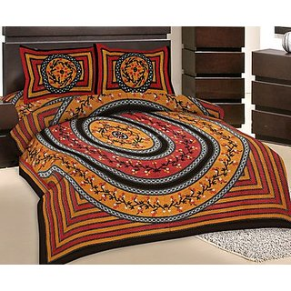 GRJ India Double Bed Sheet With 2 Pillow Cover (GRJ-DB-NC48PH-2)