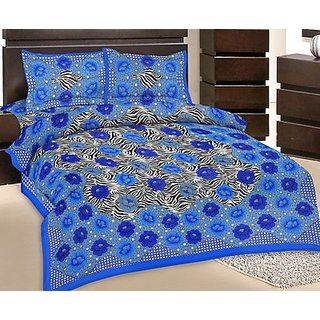 GRJ India Double Bed Sheet With 2 Pillow Cover (GRJ-DB-NC48PH-22)