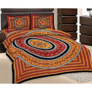 GRJ India Double Bed Sheet With 2 Pillow Cover (GRJ-DB-NC48PH-3)