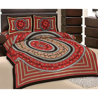 GRJ India Double Bed Sheet With 2 Pillow Cover (GRJ-DB-NC48PH-4)