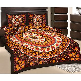GRJ India Double Bed Sheet With 2 Pillow Cover (GRJ-DB-NC48PH-7)