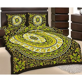 GRJ India Double Bed Sheet With 2 Pillow Cover (GRJ-DB-NC48PH-8)