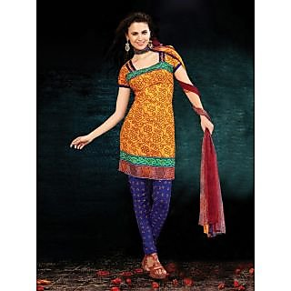 Riti Riwaz Yellow Printed Drees Material With Matching Dupatta BNJ3004