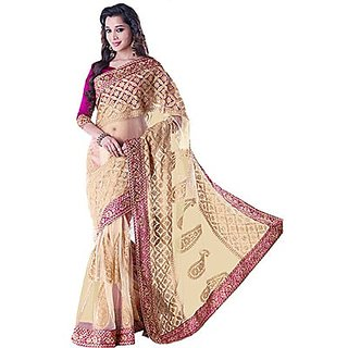 Trishana Fashions Multicolor Brocade Floral Saree With Blouse