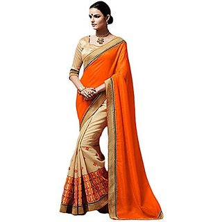 Trishana Fashions Sarees Bhagalpuri silk Lace TFWE11829 Orange