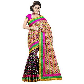 Trishana Fashions Multicolor Brasso Printed Saree With Blouse