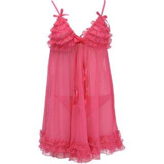 Ruby Women's Babydoll Nightwear With G-String , Ruby-13 , Magenta