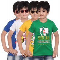 DONGLI BOYS PRINTED HALF SLEEVE TSHIRT ( PACK OF 4 )-DLH432_RB_GY_WHITE_GREEN