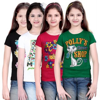 SINIMINI GIRLS PRINTED HALF SLEEVE TSHIRT (PACK OF 4)SMH600BLACKWHITERPGREEN