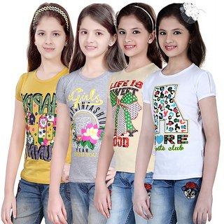 SINIMINI GIRLS PRINTED HALF SLEEVE TSHIRT ( PACK OF 4 )-SMH600_LY_WM_WHITE_BEIGE