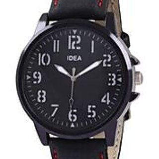 Round Dial Black Leather Strap Mens Watch