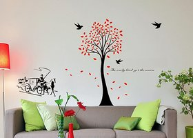 Asmi Collections Wall Stickers Tree Birds Carriage  DM6929