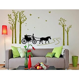 Asmi Collections Wall Stickers Tree Birds Carriage JM7046