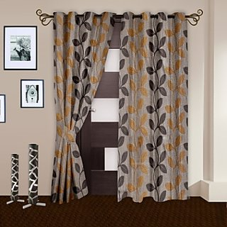 Story@Home Brown Door Curtain Nature 2 Pc -Dnr2001