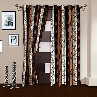 Story@Home Polyester Multicolor Geometric Door Curtain(2 Pc)
