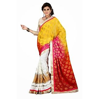 Triveni Orange Faux Georgette Printed Saree With Blouse