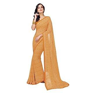 Triveni Orange Faux Georgette Printed Saree With Blouse
