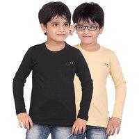 DONGLI BOYS MARVELLOUS FULL SLEEVE T-SHIRT (PACK OF 2)-DLF450-BLACK_BEIGE