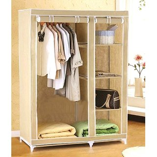 Shopper52   4 Shelves EI 3.5 Feet  Fabric Folding Wardrobe Cupboard Almirah  Beige  available at ShopClues for Rs.1479