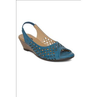 Repose Blue Faux Leather Wedges