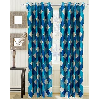 Homefab Set Of 2 Beautiful Checks Aqua Blue Door(7X4Ft) Curtain(Hf052)