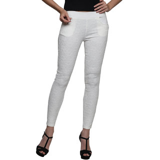 Westwood White Cotton Lycra Skinny High Waist Jeggings (WW136)