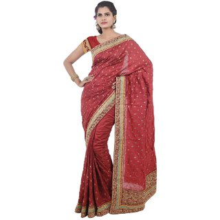 Triveni Maroon Art Silk Embroidered Saree With Blouse