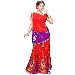 Triveni Red Chiffon Self Design Saree With Blouse