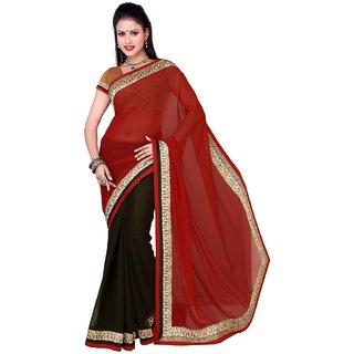 Triveni Black Chiffon Lace Saree With Blouse