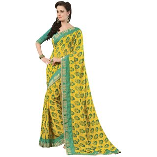Triveni Yellow Faux Georgette Printed Saree With Blouse