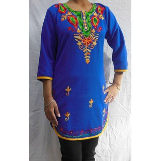 Royal Blue Woolen Embroidered Kurti 107RB