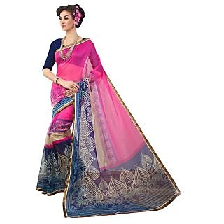 Triveni Purple Supernet Printed Saree With Blouse