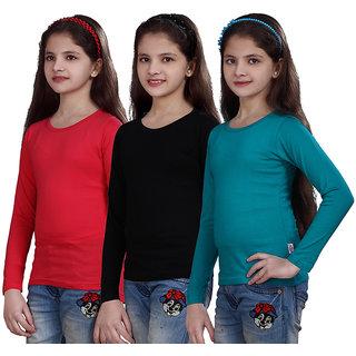 SINIMINI GIRLS FULL SLEEVE TOP ( PACK OF 3 )SMF5007151TPINKBLACKTBLUE