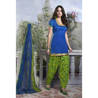 Riti Riwaz Blue Ladies Indian Dress Material with matching duppata 5SP5004