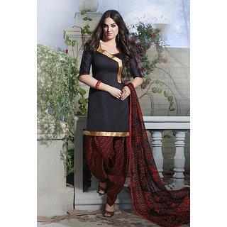 Riti Riwaz Black Ladies Indian Dress Material with matching duppata 5SP5007